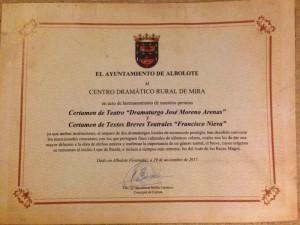 Hermanamiento del Premio Francisco Nieva del CDR con el Premio Moreno Arenas